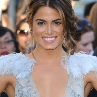 Nikki Reed Center Parted Messy Bun Updo 2013