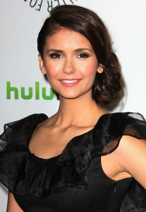 Latest Beautiful Bobby Pinned Low Side Bun Updo from Nina Dobrev