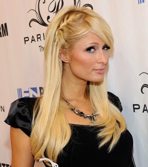 Paris Hilton Cute Braided Hairsyle with Side Bangs