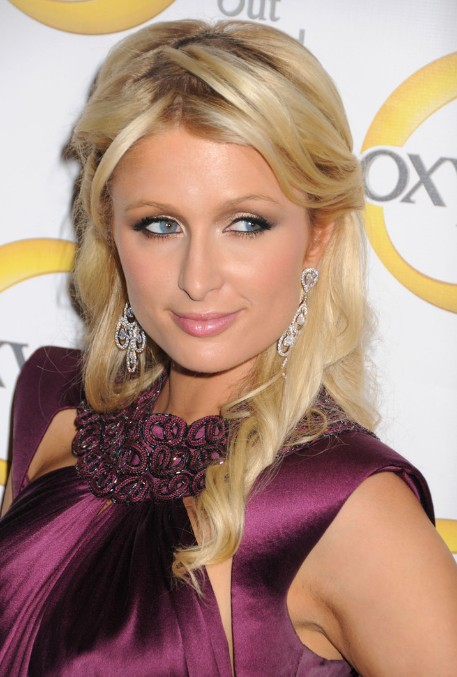 Paris Hilton Elegant Long Blonde Half Up Half Down Hairstyle