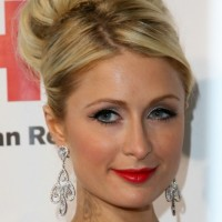 Paris Hilton Sophisticated High Bun Wedding Updo Hairstyle