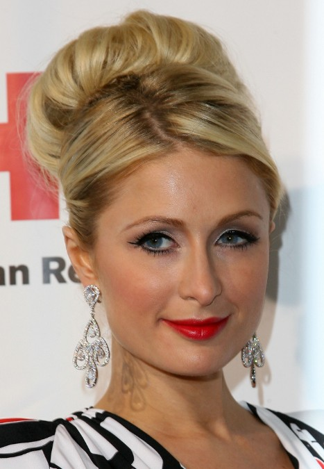 Buns Hairstyles lace Paris Hilton Sophisticated High Bun Wedding Updo Hairstyle