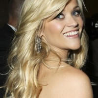 Radiant Blond Curly Hairstyle with Side Swept Bangs