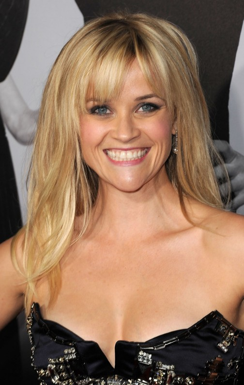 Reese Witherspoon 2013 Long Sleek Hairstyle with Bangs