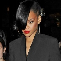 Rihanna Black Bun with Long Bangs
