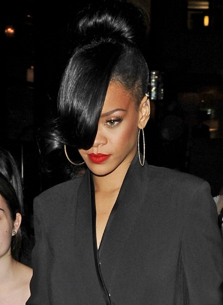 Rihanna Black Bun With Long Bangs Hairstyles Weekly