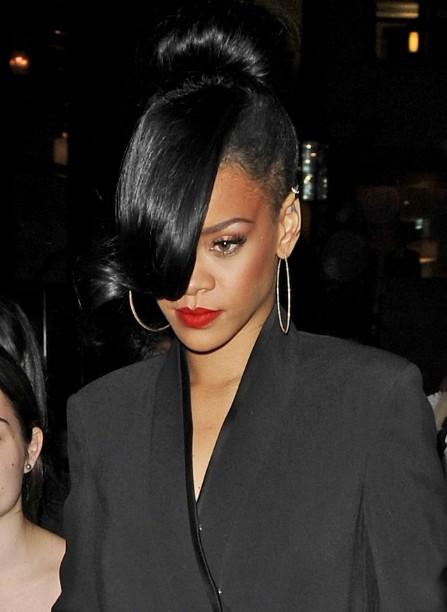 Pleasing Rihanna Black Bun With Long Bangs Hairstyles Weekly Hairstyles For Men Maxibearus