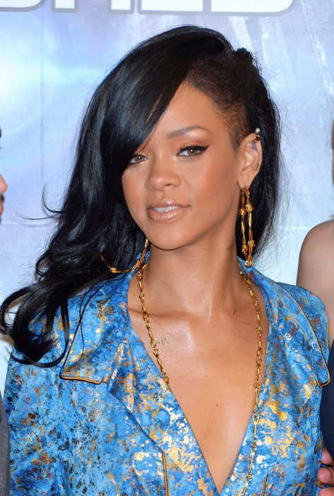 black natural hairstyles for work : Rihanna Straight Black Hair Rihanna layered long black