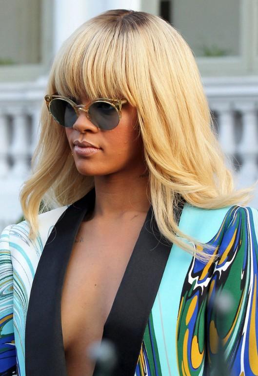 Rihanna Long Straight Blonde Hairstyle