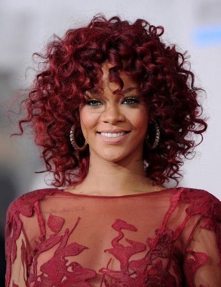 Rihanna Medium Length Red Curly Hairstyle