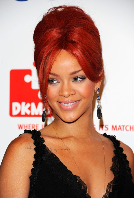Rihanna Red French Twist Updo Hairstyle