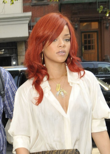 Rihanna Side Part Red Hair