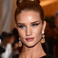 Rosie Huntington-Whiteley Bun Updo Hairstyle 2013