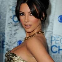 Sexy Black French Twist with Long Bangs from Kim Kardashian
