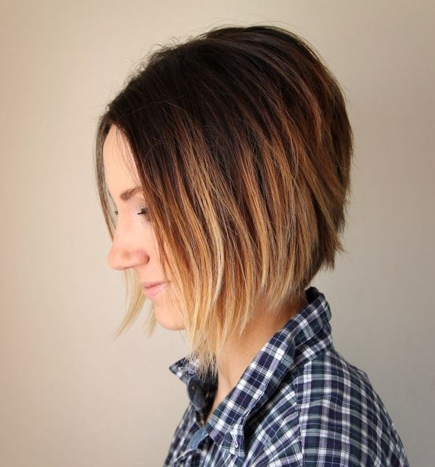 Short Ombre Line Bob Haircut Hairstyles Weekly