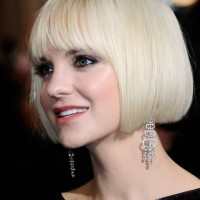 Short blunt white bob hairstyle