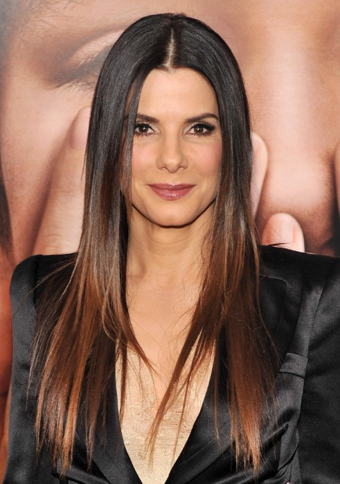 Long Sleek Middle Part Hairstyle for Women Over 50s