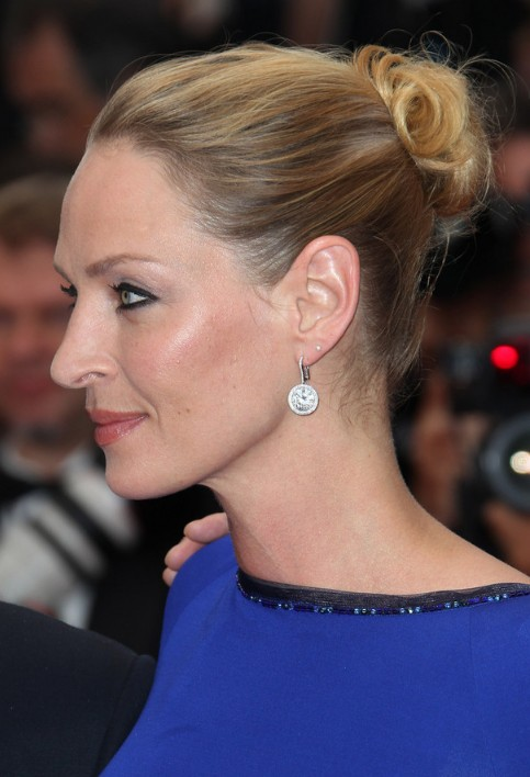 Uma Thurman Soft Loose Bun Updo