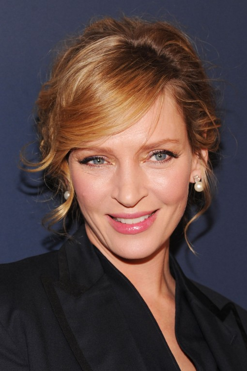 uma thurman hairstyles : Uma Thurman Hairstyles with Side Swept Bangs