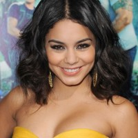 Vanessa Hudgens Center Parted Black Wavy Hairstyle