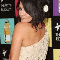 Vanessa Hudgens Cute Black Loose Messy Updo
