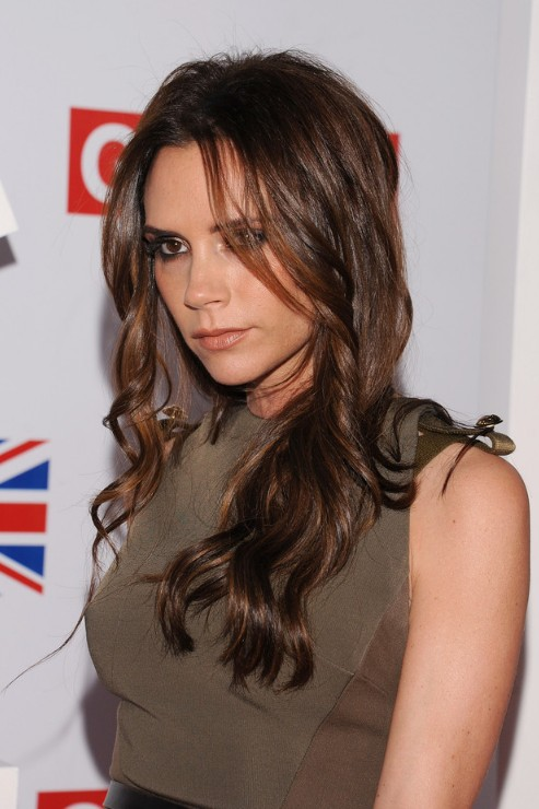 Victoria Beckham Center Part Wavy Hairstyle