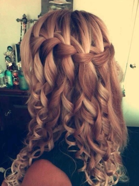 Waterfall Braid for Long Curly Hair