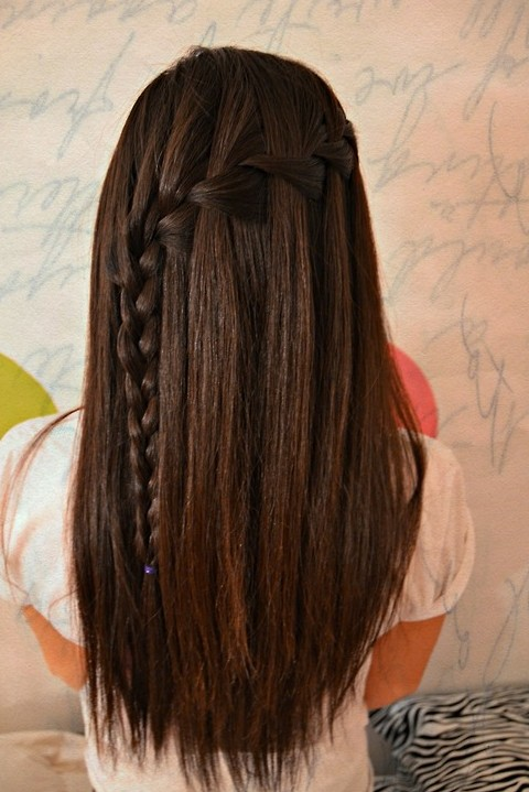 Waterfall Braid for Long Straight Hair