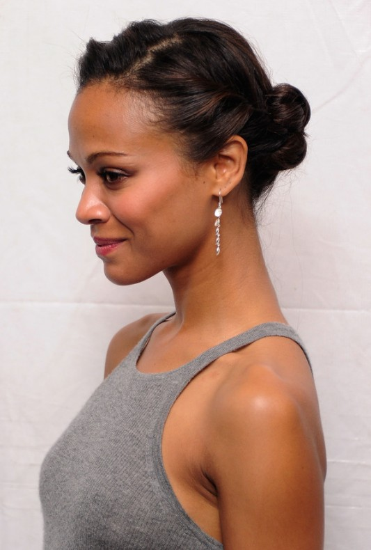 African American Daily Hairstyles Zoe Saldana Cute Simple Casual Updo Hairstyle Hairstyles Weekly