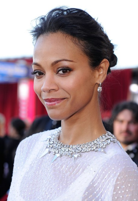 Zoe Saldana Black Loose Bun Updo for Thin Hair