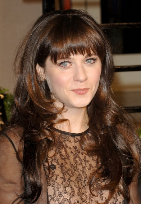 Zooey Deschanel Long Sleek Hairstyle with Bangs