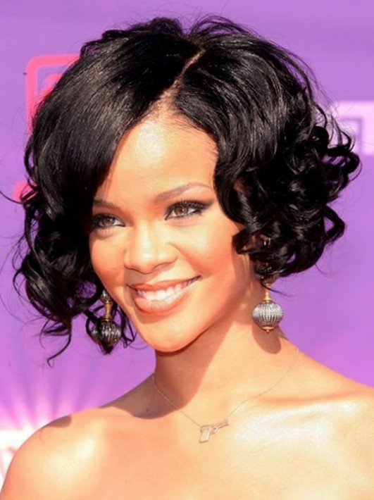 Black curly bob hairstyle