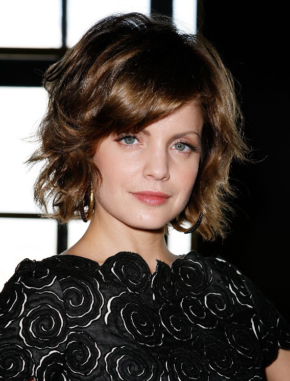 Curly layered bob hairstyle