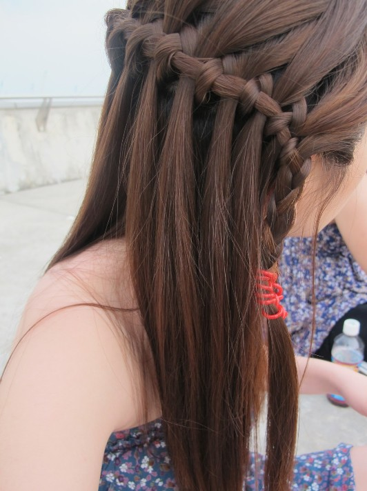 Beautiful Cascade Waterfall Braid Hairstyles Gallery