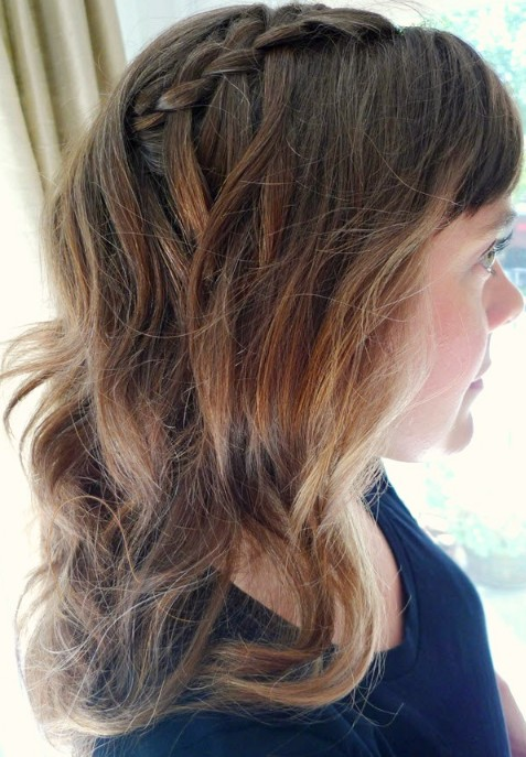 Side View of Waterfall Braid - Cascade/Waterfall Braid for Wavy Hair