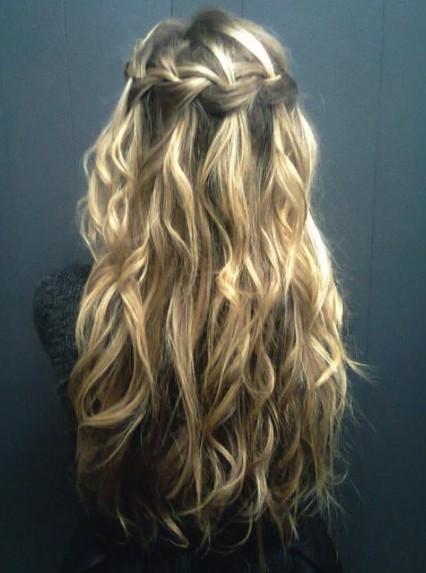 Brilliant Waterfall Braid For Curly Hair Long Curly Hairstyle With Braid Short Hairstyles Gunalazisus