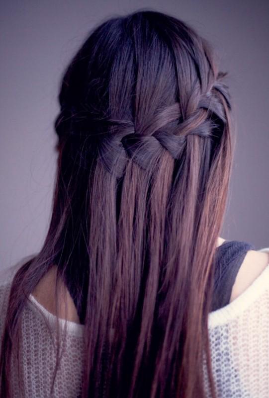 https://hairstylesweekly.com Waterfall Braid for Long Straight Hair Sleek Long Hairstyle with Braid