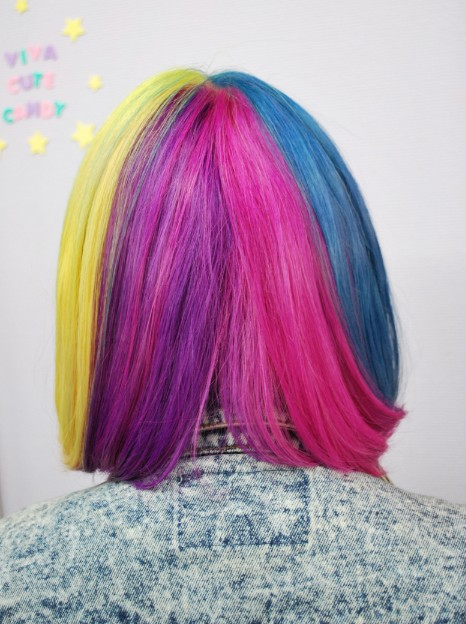 Short Straight Rainbow Bob Hairstyle With Blunt Bangs