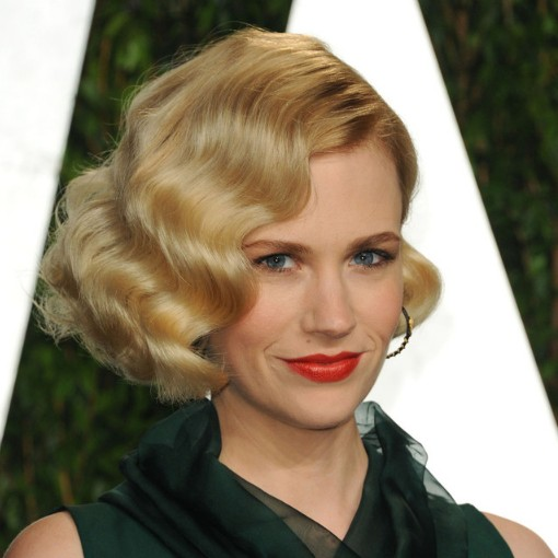 January Jones Short Curly Bob Hairstyle Finger Waves