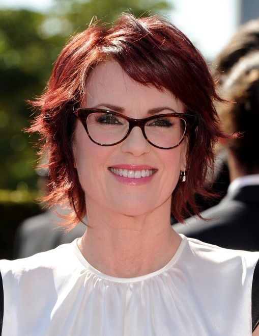 Megan Mullally Short Red Razor Haircut with Layers