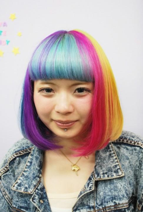 Groovy Short Straight Rainbow Bob Hairstyle With Blunt Bangs Hairstyles Short Hairstyles For Black Women Fulllsitofus