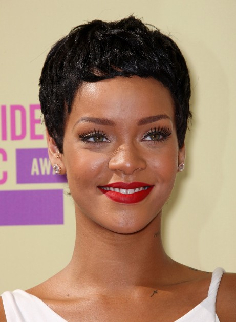 Celebrity Short Haircut: Rihanna Latest Short Black Boy Cut/Getty