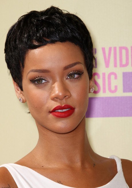 Terrific Rihanna Latest Short Curly Hairstyle The Curly Boy Cut Short Hairstyles Gunalazisus
