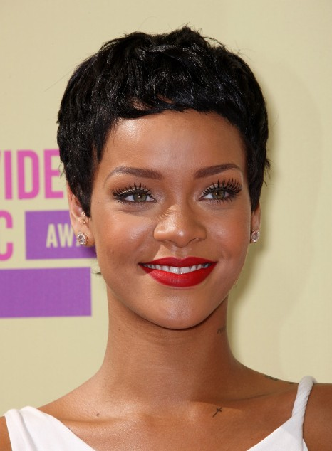 Stupendous Rihanna Short Black Curly Boy Cut For Women Hairstyles Weekly Hairstyles For Women Draintrainus