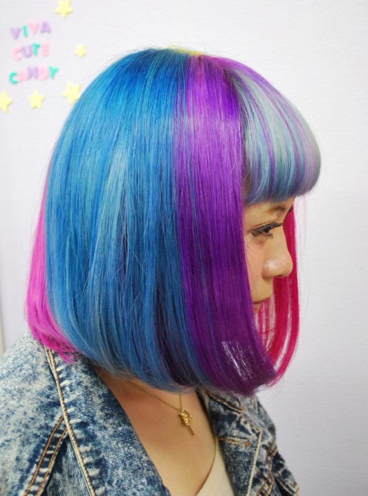 Right Side View of Short Rainbow Bob Hairstyle