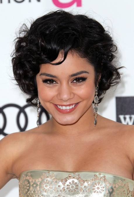 Celebrity Short Hairstyles Vanessa Hudgens Black Curly Bob Haircut