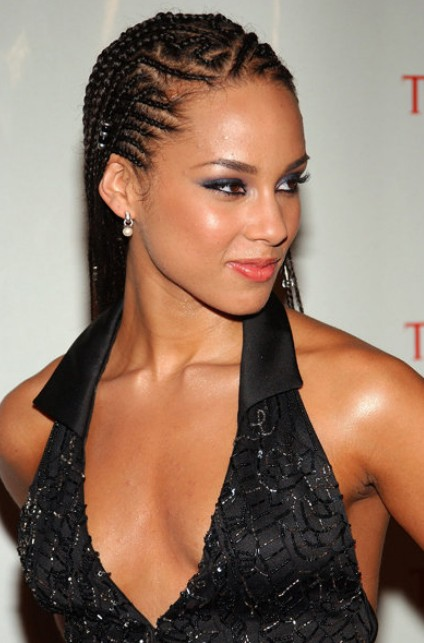 Alicia Keys Cornrow Braided Hairstyle