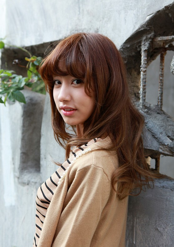 Superb Asian Girls Shoulder Length Wavy Hairstyle With Full Bangs Hairstyles For Men Maxibearus