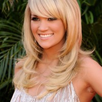 Carrie Underwood Layered Long Blonde Hairstyles with Bangs