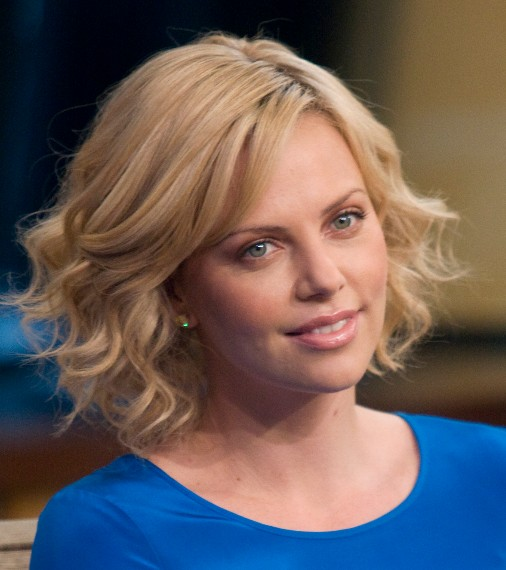 Charlize Theron Layered Curly Bob Hairstyle